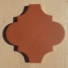 "9~Talavera Mexican Lantern Tiles 6-3/8 X 6-1/2"" Terra Cotta Rust Arabesque Solid"