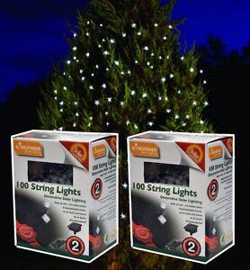 Image Is Loading 22m LED SOLAR POWER WHITE OUTSIDE GARDEN CHRISTMAS
