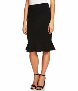NWT-ANN-TAYLOR-RICH-BLACK-PENCIL-FLOUNCE-SKIRT-SIZE-0-2