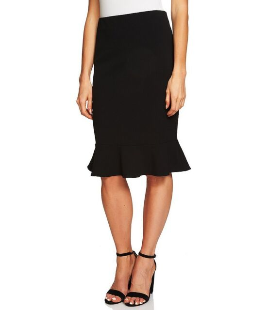 NWT ANN TAYLOR RICH BLACK PENCIL/FLOUNCE SKIRT SIZE 0-2