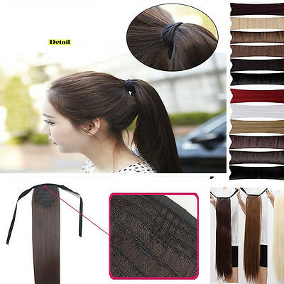 Red Blonde black brown clip in ponytail hair Extensions long thick pony tail B2