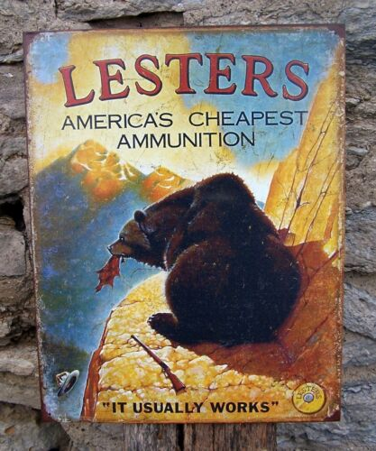 Antique Style Lesters Ammunition Funny Metal Sign Retro Ad Wall Decor USA Gift