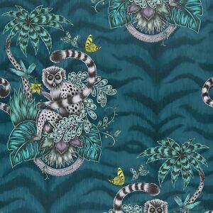Emma-J-Shipley-Animalia-Lemurien-Papier-Peint-Bleu-Fonce-Tiger-Print-W0103-03
