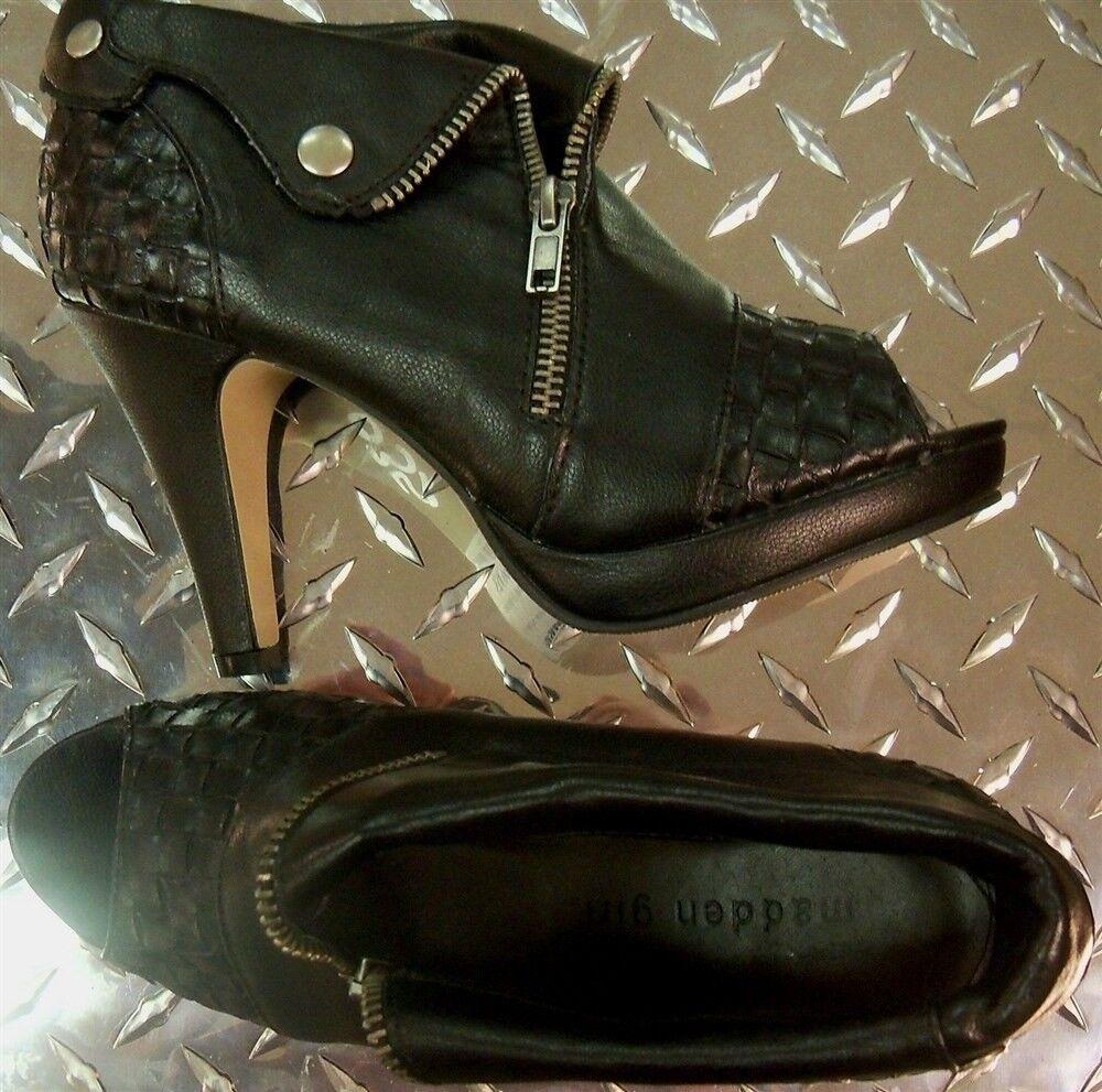 tutti i prodotti ottengono fino al 34% di sconto avvioie stivali nero Zip Cuffed Cuffed Cuffed Peep Ankle 3.5  Heel Madden Dimensione 6.5 New  liquidazione