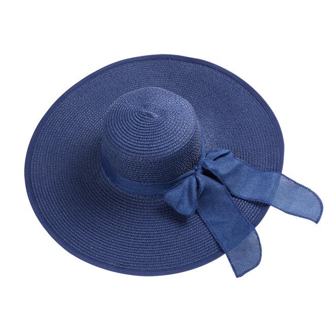 Navy Women s Summer Beach Straw Sun Hat Ladies Floppy Wide Brimm Roll-up Bow  Cap 0a404699fc39