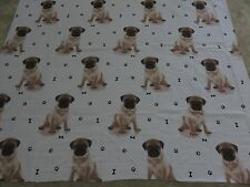 Pug pugs cute puppy dog puppies paw print bones craft fabric remnant 125x105cm