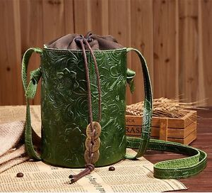 New-Women-Genuine-Embossed-Cow-Leather-Shoulder-Bag-Bucket-Handbag-Purse-Wallet
