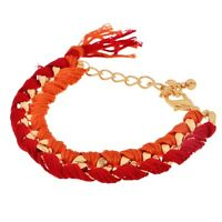 Red Orange Thread String Wrapped Gold Chain Jewelry Adjustable Length Bracelet