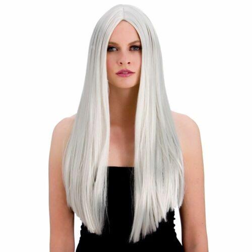 "Donna Parrucca Lunga Argento Dritto classico Halloween Fancy Dress parrucca di 24/"""