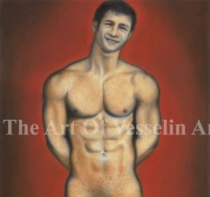 Print Of Male Pastel Drawing - Smiling Man - Pin Up Art Figure By Artist Andreev