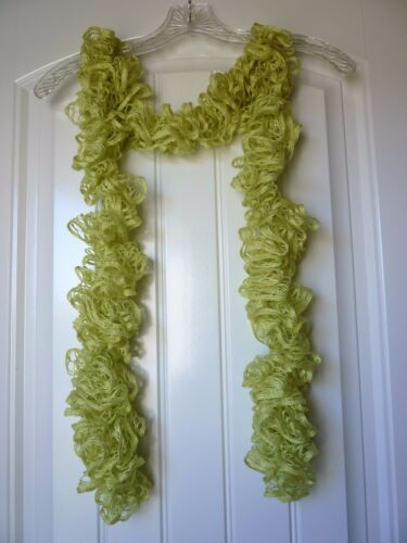 Chartreuse Handmade Crocheted Fashion Ruffle Scarf