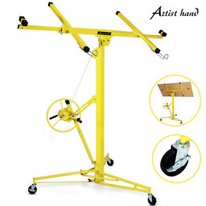 Yellow 16-19' Drywall Panel Lifter Hoist Jack Rolling Caster Lockable DIY Tool 610877121175