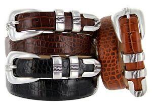 "Genuine Leather Italian Calfskin Designer Dress Belt 1-1//8/"" Wide The Andrew"