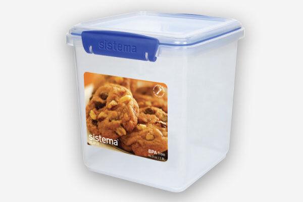 Sistema 2.35 L Square Plastic Cookie Biscuit Food Storage Box  BPA Lead Free