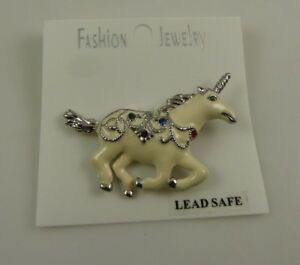 white-and-silver-with-multi-color-crystals-Unicorn-pin-bling-crystals-lead-safe