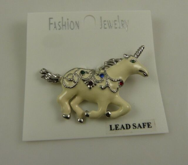 white and silver with multi color crystals Unicorn pin bling crystals lead safe