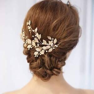 Bridal-Wedding-Gold-Leaf-Branch-Pearl-Hair-Clip-Tiara-Headpiece-Jewelry-Headwear