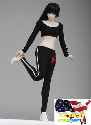 """1//6 Sport Gym Tracksuit Sneakers Set BLACK for 12/"""" Hot Toys PHICEN Figure U.S.A."""