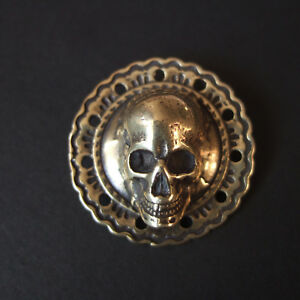 1-1-4-034-Brass-Skull-Flower-Concho-Screw-Back-Belt-Saddle-Leathercraft-Decor-Punk