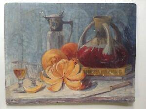 Tableau-Ancien-Post-Impressionniste-Nature-Morte-Huile-style-Georges-d-039-ESPAGNAT