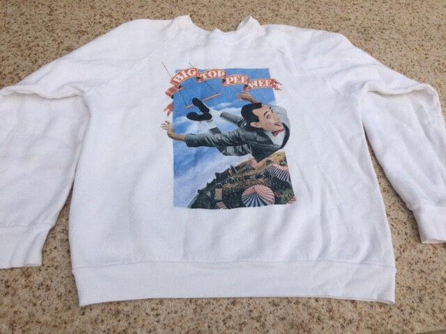 Pee Wee Herman Big Top Pee Wee 1988 Vintage White Sweatshirt L