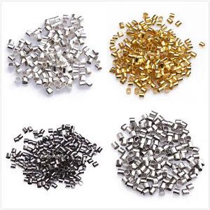Multicolore-Perles-Tubes-a-ecraser-Pour-Bracelet-Collier-Metal-2x1-7mm-500pcs