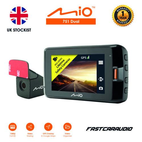 MIO 751 DUAL 1440P 2 CHANNEL 1080P FULL HD IN CAR DASHCAM /& DVR GPS REAR CAM