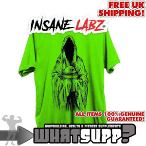 INSANE LABZ Grim Reaper OFFICIAL T-SHIRT Black on Green Bodybuilding top SMALL