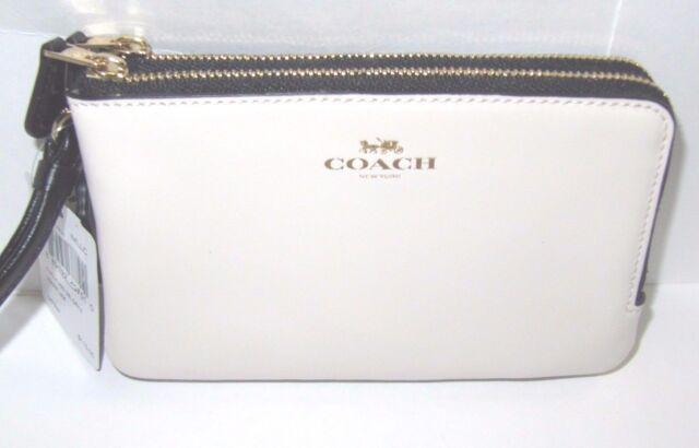 6146a460f448 Coach F57585 Brown Neutral Colorblock Logo Double Corner Zip Wristlet Wallet