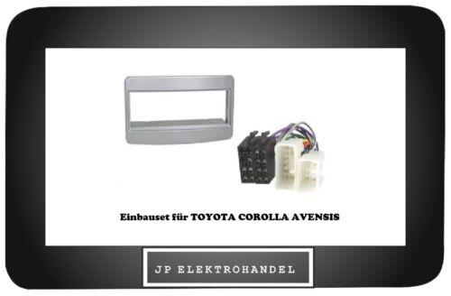 ADAPTATEUR ISO Set façade radio toyota Corolla Avensis radio Installation Cadre Argent