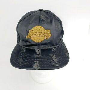 Los Angeles Lakers Nba Allover Logo Logoman Cap Hat Black Gold Size 7 1 4 Ebay