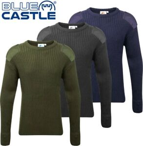 Mens-Army-Military-Style-Crew-Neck-Pull-Over-SWEATER-Long-Lasting-JUMPER-NEW