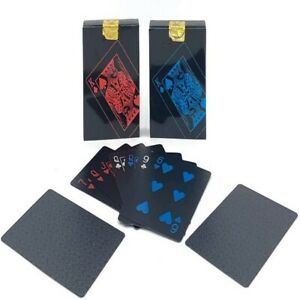New Cool Black Plastic Poker Waterproof Magic Playing Cards Desk Table Game LA