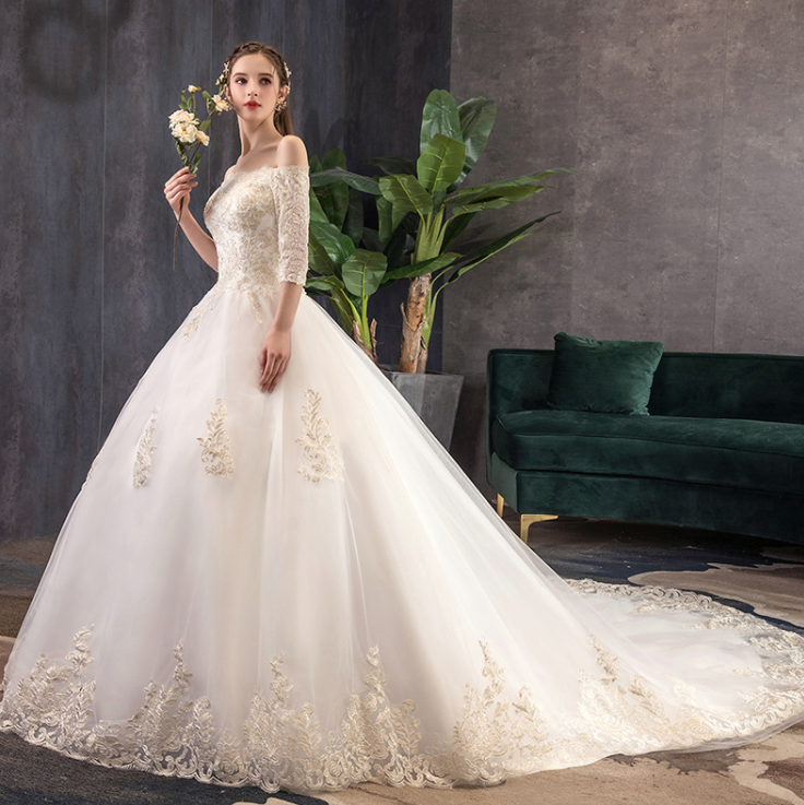 Acecare Lace Applique Cathedral Train Wedding Dress Bridal Gown Wedding Dresses