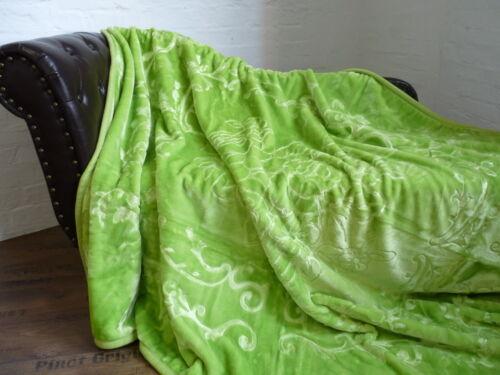 Luxus Tagesdecke Kuscheldecke Wohndecke Decke Plaid hell grün 160x200cm