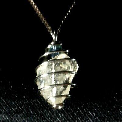 Natural Moldavite Czech Meteorite Pandent  Stainless steel cage Anti-sensitive