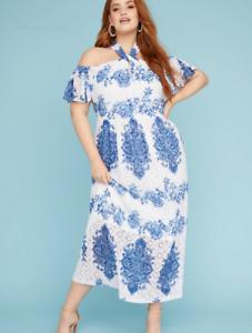 3955657b177 New LANE BRYANT Lace Halter Neck MAXI DRESS Blue   White Plus Size ...