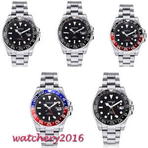 40mm-PARNIS-Schwarz-dial-Saphirglas-GMT-Herren-Automatische-movement-mens-Watch