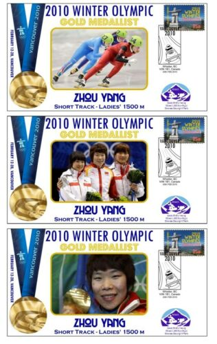 ZHOU YANG 2010 OLYMPIC 1500m SKATING SET OF GOLD COVERS