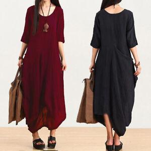 Vintage-Womens-Cotton-Linen-Tunic-Baggy-Loose-Party-Long-Maxi-Dress-Plus-UK-8-24