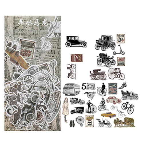 60pcs Old Things Vintage Car Plant Stickers Kawaii Scrapbooking Stickers DIY