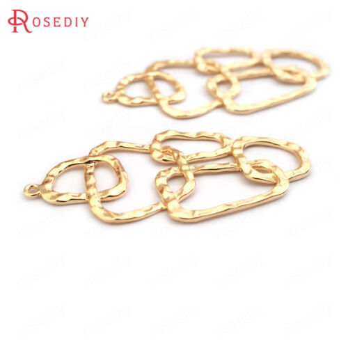 6PCS 42*21MM Quality Gold Color Brass Geometry Connect Charms Pendants 33489