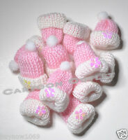 12 Baby Shower Favors Hats Recuerdos Party Favors Pink Girls Knit Baby Hats Gift