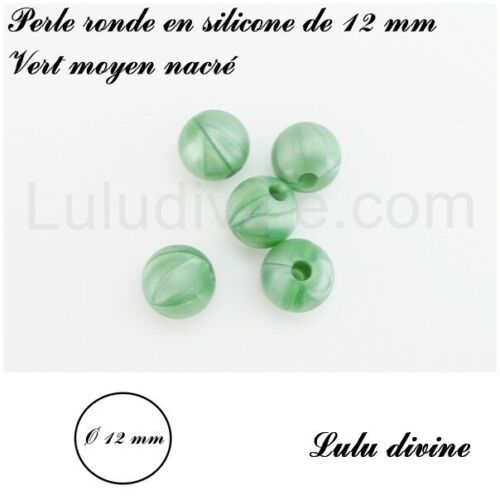 lot de 10 perles Perle ronde en silicone de 12 mm Vert moyen nacré