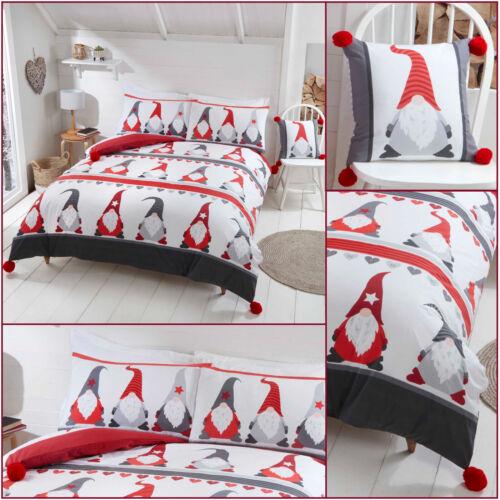 Christmas FESTIVE GONKS Pompoms Fun Reversible Bedding Quilt Duvet Cover Set