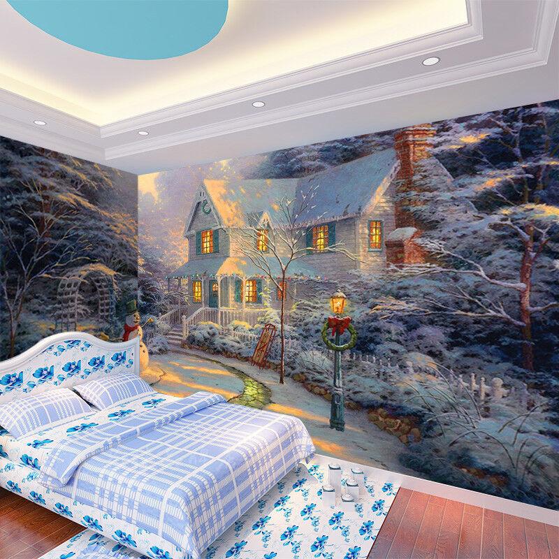 3D House Snowman 455 Wallpaper Murals Wall Print Wallpaper Mural AJ WALLPAPER UK