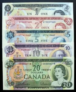 1969-1975-Bank-of-Canada-Set-of-5-Notes-1-2-5-10-20-Dollars-AU-UNC