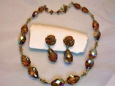 Old Vintage Jewelry Vendome AB Glass Crystal Necklace Earrings Set
