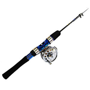 "New HT FISH HUNTER ICE ROD 24/"" LIGHT   FHI-24L Reel Combo Accucast 5:2:1"