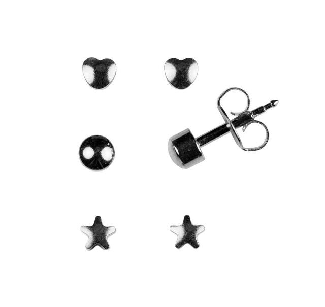 Set Of 3 Pairs Surgical Stainless Steel Ear Piercing Multi Shape Stud Earrings